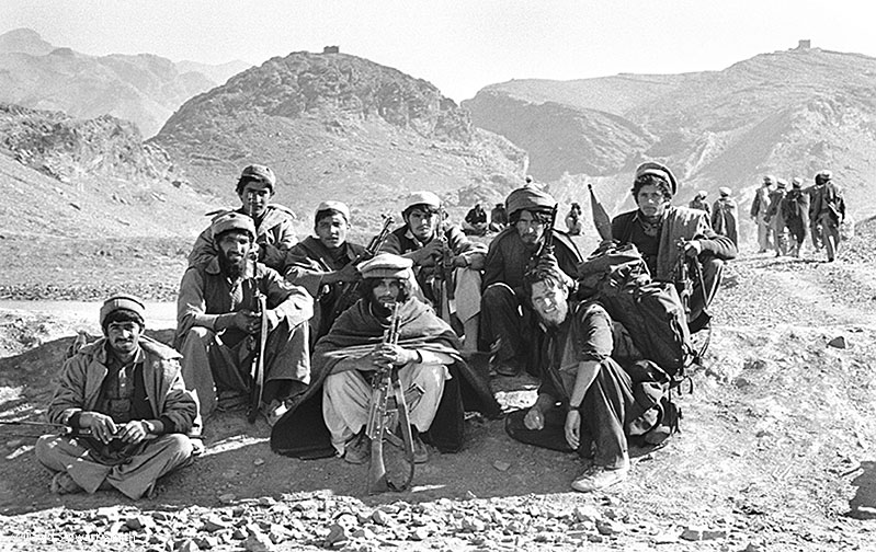 David together with a group of Afghan mujahideen fighters on the Afghan/Pakistan border in 1987